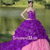 Luxury Embroidery Sweet sixteen Quinceanera Dress Lace Up Ruffles Quinceanera Ball Gown With Train Prom Dress l67