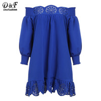 2016 Cute New Arrival Casual Style Fashion Korean Brand Dresses Blue Off The Shoulder Long Sleeve Peplum Hem Hollow Dress