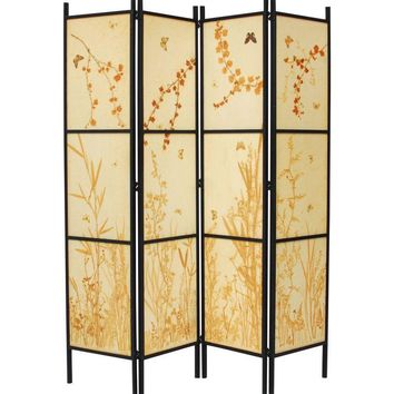 Pre-owned Pressed Botanical Parchment Room Divider Screen