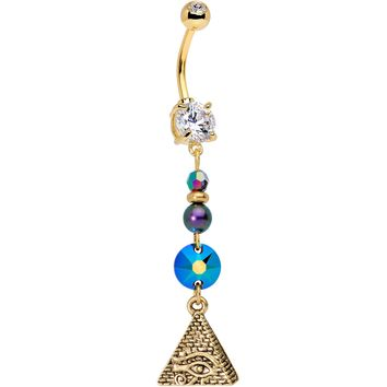 Eye of the Pyramid Dangle Belly Ring Created with Swarovski Crystals