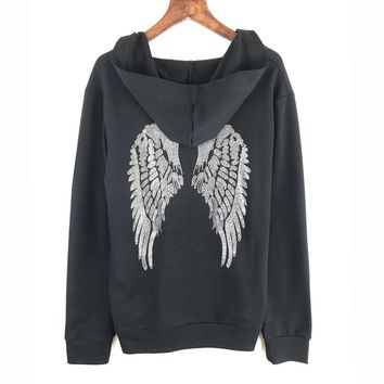 3 Colors Free Shipping Punk Hoodies Sweatshirt Women Hat Wing Sequins Sequined Tracksuits Women Long Tops Rock Sweatshirts Hoody