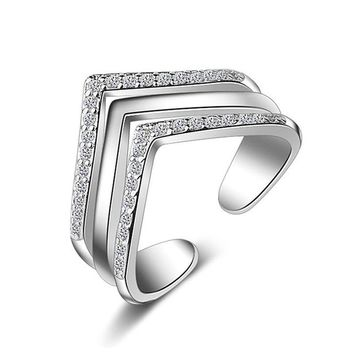 Double Layers 925 Silver Plate Rings