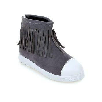 Round Toe Tassel Ankle Boots Women Shoes 75977249