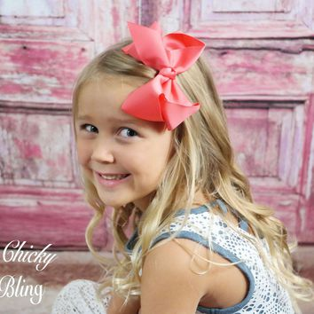 Girls Medium Chunky Hair Bow on Alligator Clip