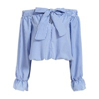 Vogue Summer Feminine Off Shoulder Tops Long Sleeve Slash Neck With Bow Vertical Striped Crop Women Blouse