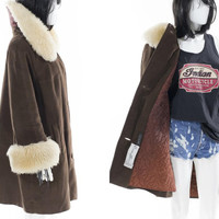 Vintage Fur Jacket Long  Swing Coat Trench with Shearling Fur Collar Size Medium