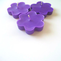 Candle Baby Shower Favors - Set of 3 Purple Flower Candles