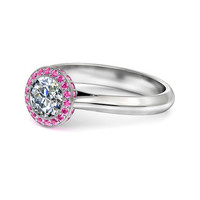Engagement Ring - Cathedral Round Diamond Engagement Ring Pink Sapphires Halo, 0.50 tcw - ES701