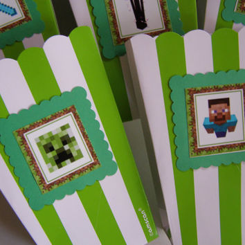 Popcorn Boxes Snacks, Chips, Movie Night Gifts Loot Bags Green 10 Minecraft Game Kids, Boys, Building Blocks The Nether Party Favors