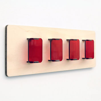 Panel Shades - Wood and Acrylic Wall Art - Minimalist Home Decor - Vivid Red Rectangular Shapes