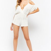 Ruffle-Trim Open-Shoulder Romper