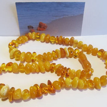 100% Natural #Antique #Baltic #Amber #Necklace, 34.4 grams  #yellow   polished  opaque and transparent beads  for adult