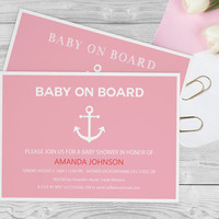 "Nautical "" Baby on Board"" Baby Shower Template - Girl Baby Shower Invitations - Nautical Anchor Editable PDF Templates - DIY You Print"