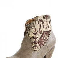 Priority19 Western Embroidered Cowboy Booties TAUPE - Ankle Boots - Boots