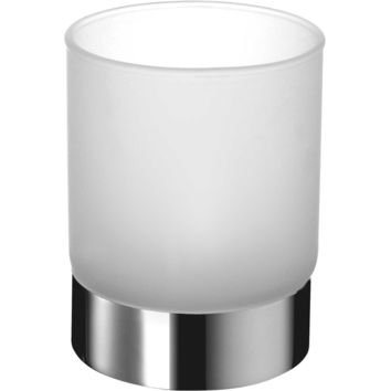 Frosted Glass Round Countertop Toothbrush Toothpaste Holder Bathroom Tumbler