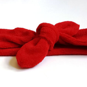 Red Workout Terry Cloth Knotted Headband Adjustable Womens Tie Headband Workout Accessories Athletic Fashion Headband Summer Headwrap
