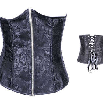 Black Floral Lace Zip-up Underbust Corset