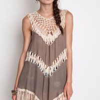 Umgee Crochet Fringe Tank Tunic Hippie Dress-Mocha