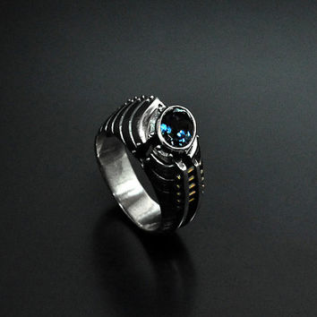 """SALE -20% OFF Silver Industrial Steampunk Ring  """"Unquaestus"""" with Topaz"""
