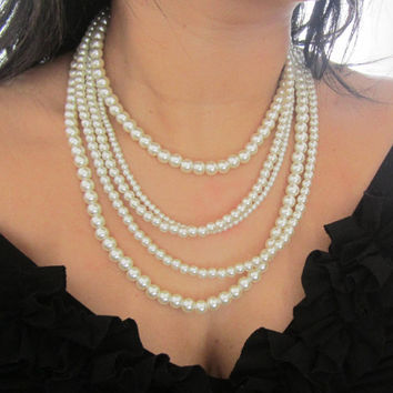 Multi Strand Pearl Necklace Pearl Statement Necklace Multi Layered Pearl Necklace Ivory Pearl Necklace Wedding Jewelry