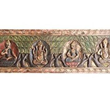 Antique Vintage Buddha Ganesha Headboard Mediation Wall Sculpture, Home interior Decor