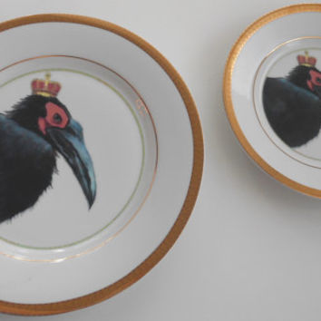 2 Gold Hornbill Bird Plates, very Steampunk, perfect Wedding Dishes, more available, please ask