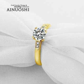AINUOSHI 1 Carat Round Cut Yellow Gold Ring 10k Solid Gold Wedding Ring Engagement Simulated Diamond Aneis Feminino Wedding Ring