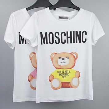 Fashion casual print monogram and Little bear blouse T-shirt