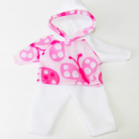"HANDMADE CLOTHES, baby doll, fits 15"" bitty baby, ladybug hoodie & white pants"