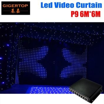 P9 6M*6M Fireproof Led Vision Curtain DJ Backdrop PC Mode controller +DIY Program Light stage Curtain RGB Color Mixing Curtains