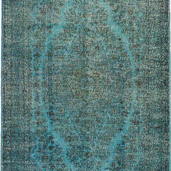 "5'4"" x 9'7"" Turquoise Blue Green Turkish Overdyed Rug"