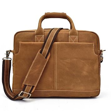 Men Genuine Leather Briefcase High Quality Business Man Vintage Crazy Horse Leather Messenger Laptop Bag Men Shoulder Bag
