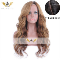 5A Full Lace Silk Base Ombre Wigs Brazilian Virgin Human Hair Blonde Wig Glueless Silk Top Human Hair Lace Front Wigs