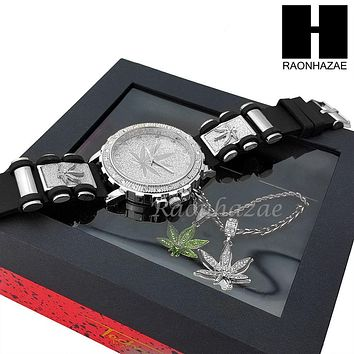 MEN ICED OUT MARIJUANA WATCH & DOUBLE PENDANT SILVER CUBAN ROPE CHAIN NECKLACE SET SS82