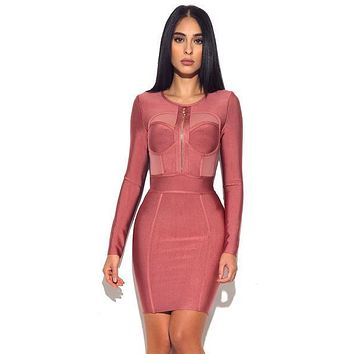 Xenia Coral Pink Sheer Cut out body con dress