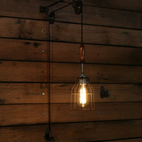 Pulley Wall Sconce - Industrial Trouble Light  with Wooden Handle and Wire Cage - Hanging Light Pendant