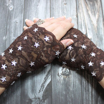 Kenodi // Fingerless gloves short brown glamour Victorian bohemian Burlesque Cosplay Costume Lolita Steampunk Noir Edwardian Noir wedding
