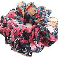 Yellow Red Scrunchies for Hair Large Chiffon Designer Accessories Elastic Hair Ties Headband Ponytail Holder