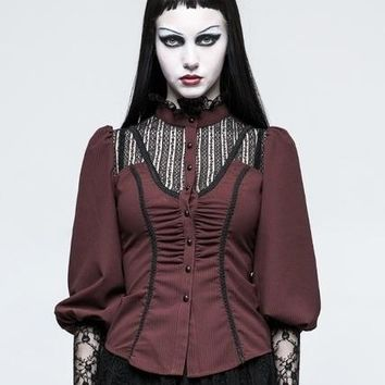 Gothic Mandarin Collar Lace Puff Sleeve Blouse Red