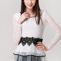 Lace Embroidered Long Sleeve Shirt With Black Lace Design