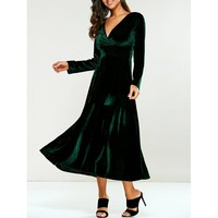 V-Neck Empire Waist Velvet A-Line Dress