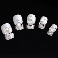 Yesurprise Silver Crown Beads Ring Round 10 pieces Silver 3D Alloy Nail Art Slices Glitters DIY Decorations