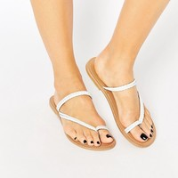 ASOS FORECAST Wide Fit Leather Flat Sandals