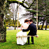 """Eagle - Handmade cedar rope tree swing 48"""" wide - Relax with a loved one - Double Porch Swing"""