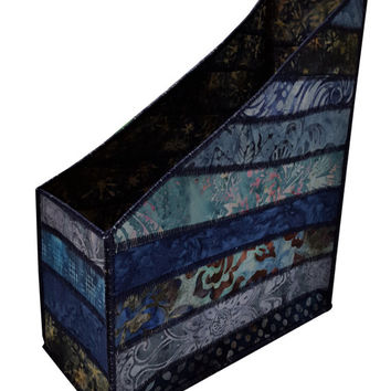 Home Storage Magazine Organizer in Blue Batik
