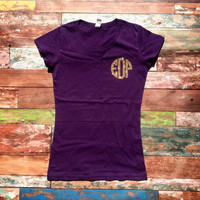 Monogrammed Short Sleeve T-shirt Glitter Monogram Tee, School Colors Personalized T shirt, Monogram Tee Shirt
