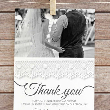 wedding thank you card, wedding thank you cards photo, wedding thank you cards printable, wedding thank you postcard, B&W wedding, postcard