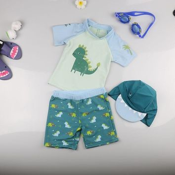Swimsuit For Boys Summer Beach Sunscreen Two Pieces Surfing Suit Kids Seasides Cute Cartoon Dinosaur Swimwear With Cap
