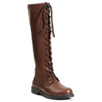 """Women's 1"""" Knee High Lace Up Boot with Inside Zipper"""