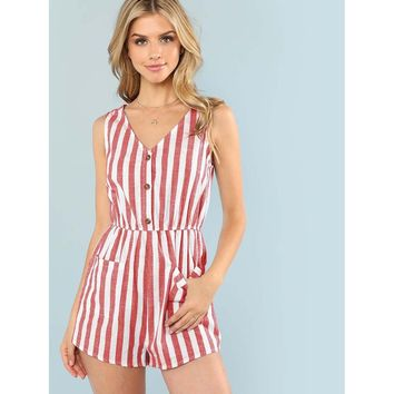 Pocket Patched Stripe Button Romper